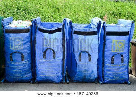 Lugano Switzerland - 9 May 2015: Pet bottles container on a recycling center