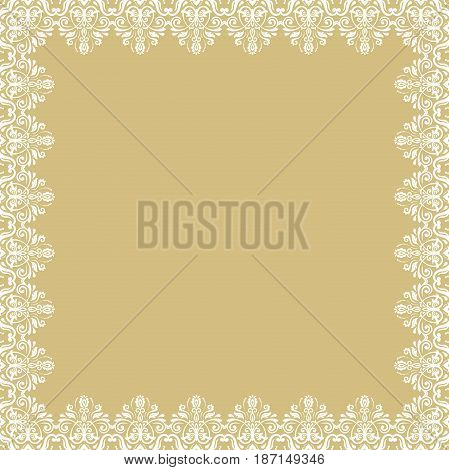 Classic white square frame with arabesques and orient elements. Abstract ornament with place for text, Vintage pattern