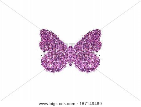 Butterfly of purple glitter on white background, icon for your design