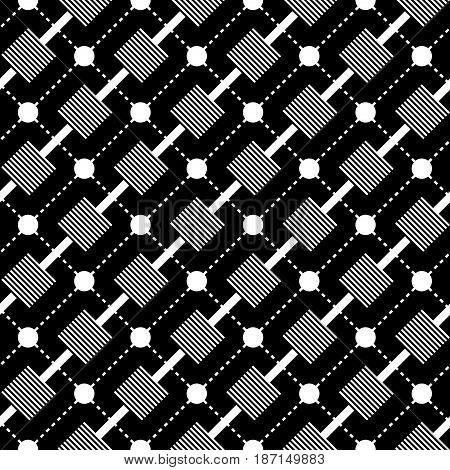 Geometric monochrome background. Black and white seamless pattern. Vector illustration