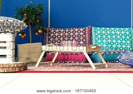 Blue Room With Pattern Pillows