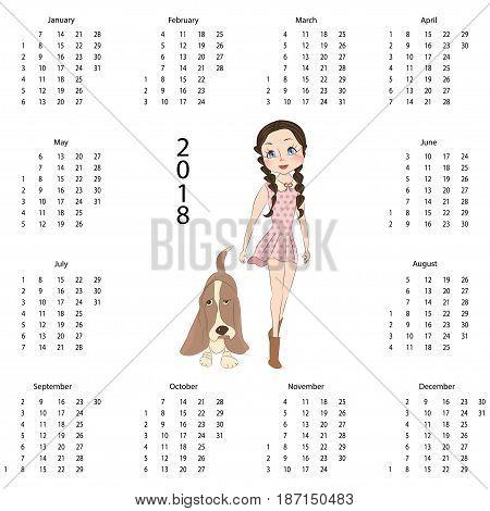 Calendar 2018 with cute dog in cartoon style. Isolated vector illustration eps 10.