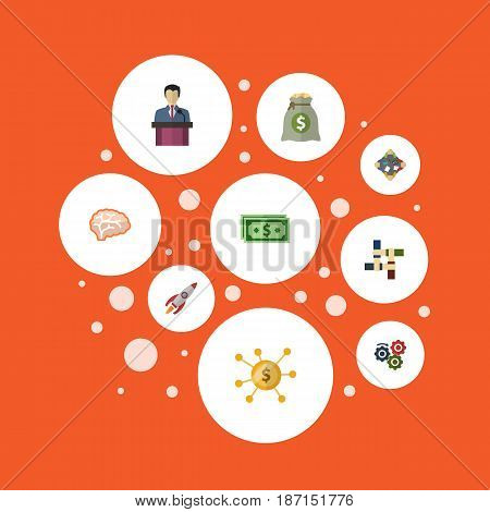 Flat Businessman, Rocket, Financing And Other Vector Elements. Set Of Startup Flat Symbols Also Includes Income, Teamwork, Coin Objects.
