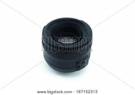 Camera lens isolated on white background. Front part view. Portrait fix lens.