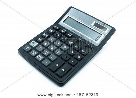 Calculator isolated on white background. Black calculator.