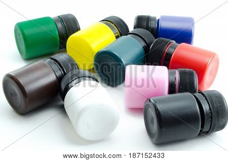 Acrylic painting set in the bucket isolated on white background.