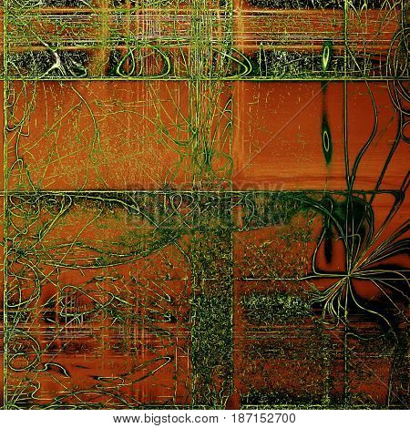 Old abstract texture used as shabby grungy background. With different color patterns: brown; green; red (orange); black