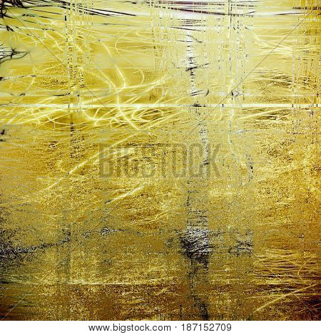 Old school frame or background with grungy textured elements and different color patterns: yellow (beige); brown; gray; black