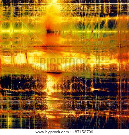 Old grunge background with delicate abstract texture and different color patterns: yellow (beige); brown; green; red (orange); purple (violet); black