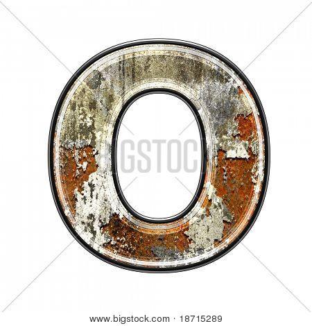 letra 3d abstrata com textura de parede antigo - O