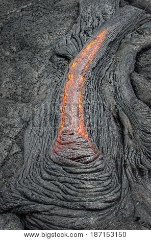 Magma In Lava Field On Big Island Hawaii