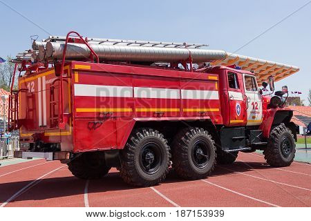 Donetsk Ukraine - April 29 2017: Fire truck at the stadium during a fire crossfit