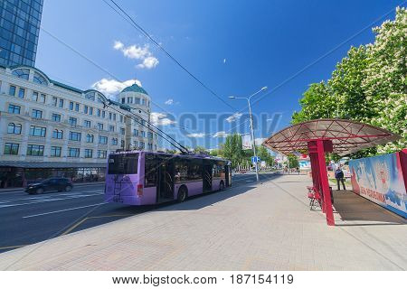 Donetsk Ukraine - May 7 2017: Trolleybus on the central street of the city