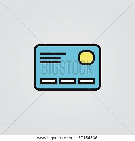 credit card icon, outline vector logo illustration, filled color linear pictogram isolated on white