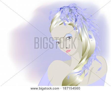 Fairy light albino girl, Snow Queen. EPS10 vector illustration.