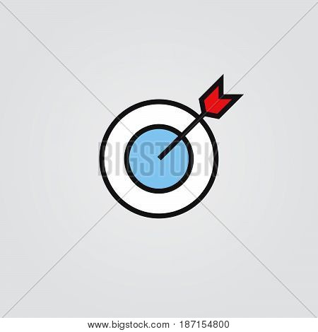 target icon, outline vector logo illustration, filled color linear pictogram isolated on white