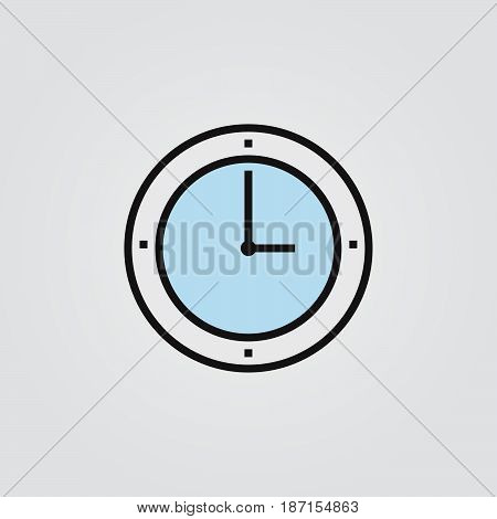 clock icon, outline vector logo illustration, filled color linear pictogram isolated on white