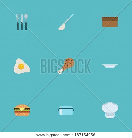 Flat Silverware, Omelette, Fast Food And Other Vector Elements. Set Of Kitchen Flat Symbols Also Includes Food, Casserole, Bakery Objects.