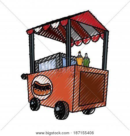Hot dog cart icon vector illustrationm graphic design