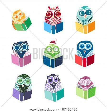 Hand Drawn Funny Owl with Book. Owls Learning subject for print, fabric, wrap and illustration, game, web and children items. . Vector