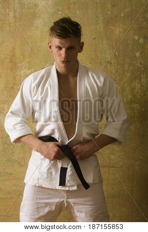 Karate Man In White Kimono