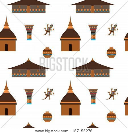 Huts in Africa. Vector flat illustration huts and jug gecko. Idea for design.Print on fabric. Stylized image of African houses. Abstract illustration of african motifs.