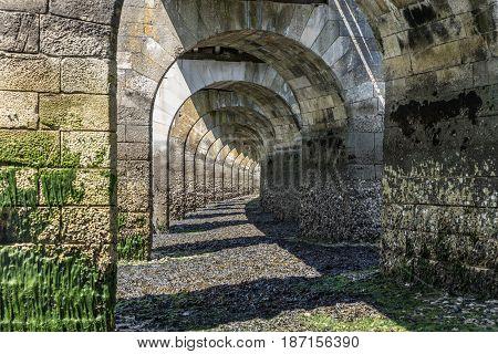 Under the footbridge at low tide in les Sables d'Olonne, France