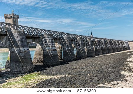 Footbridge at low tide in les Sables d'Olonne, France