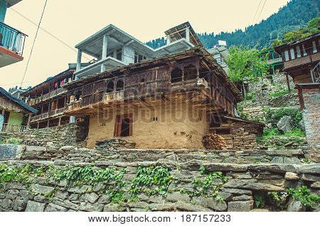 Traditional architecture of the beautiful Kullu valley.