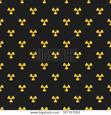 Abstract pattern. Yellow marks of radiation on a black background. Irradiation. Dangerous area. Vector illustration in a flat style. EPS 8