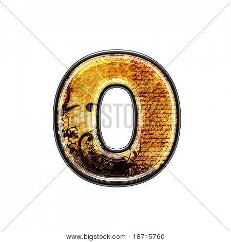 letra 3d abstrata com textura grungy - O