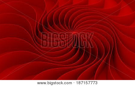 3D Rendering Curved Abstract On Red Background In Valentine's Day, Illustration
