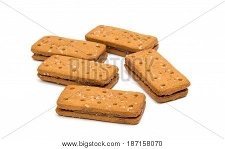 Biscuits double biscuit isolated on white background
