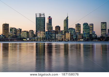 Buildings and skyline of Perth City, Western Australia, Australia. May 16th, 2017.