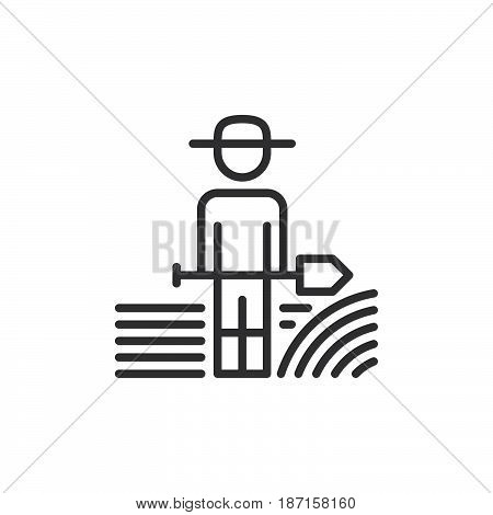 Farmer man with shovel line icon outline vector sign linear style pictogram isolated on white. Symbol logo illustration. Editable stroke. Pixel perfect