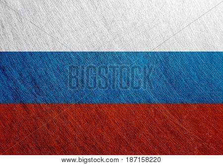Russia flag vintage retro scratched Steel background. Russian Federation