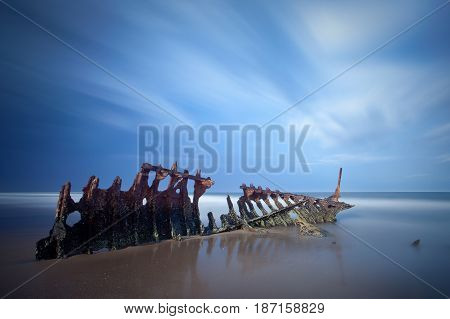 The SS Dicky shipwreck at Dicky Beach on the Sunshine Coast, Queensland, Australia.