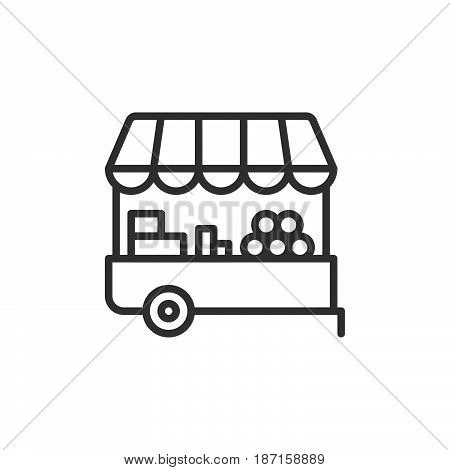 Farmer stall line icon outline vector sign linear style pictogram isolated on white. Symbol logo illustration. Editable stroke. Pixel perfect