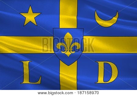 Flag of Lodeve is a commune in the Hérault département in the Occitanie region in southern France. 3d illustration