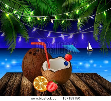 tropical vector background with leaves of palm trees summer night sky patio lights exotic cocnut on palm leaves and wooden deck