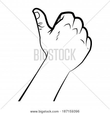 hand male like thumb up signal ok vector illustration
