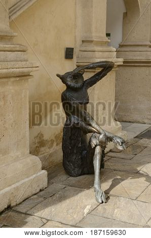 GRAZ, AUSTRIA - MARCH 20, 2017: Bronze sculpture at the courtyard of the building