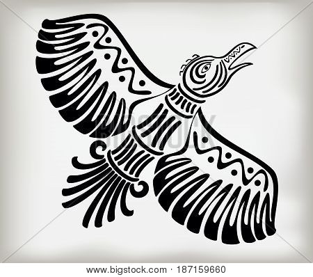 Decorative stylized bird crows in the ethnic style of ancient American Indians with national patterns. EPS10 vector illustration.