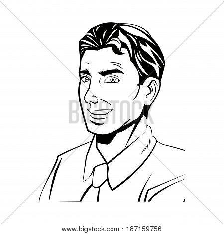 comic man business wear shirt and tie design vector illustration