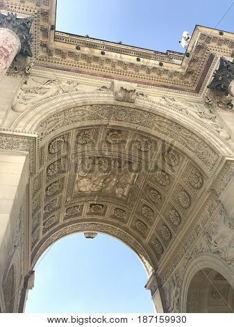 View of the Arch on the square of Carrousel in Paris with my eyes