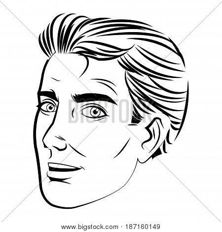 face man pop art style image vector illustration