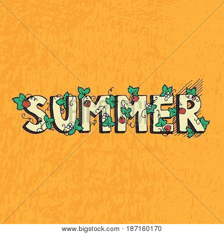 Unique lettering poster with word Summer. Vector art. Trendy handwritten summer illustration for t-shirt design, notebook cover, posters and cards.