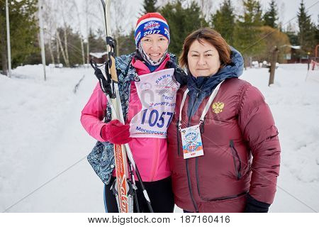 MOSCOW REGION, YAKHROMA, RUSSIA - FEB 11, 2017: Participant (with model release) and olympic champion Elena Vyalbe at Russian Ski Run 2017 competition. Russian Ski Run is held annually since 1982.