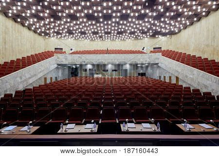 MOSCOW, RUSSIA - FEB 11, 2017: Korolevskiy concert hall before Pole Dance Show. Concert hall is designed for 750 spectators and is equipped with modern sound and light equipment.