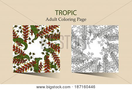 Round vector ornament with tropical heliconia flowers. Cloring page for adults.